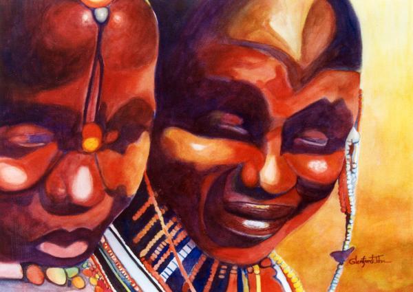 African Queens Painting - African Queens Fine Art Print - Glenford John